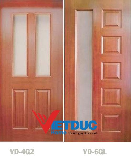 Mẫu cửa gỗ HDF Veneer Căm Xe VD-4G2 và VD-6GL