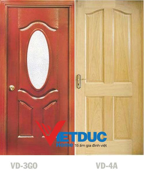Mẫu cửa gỗ HDF Veneer Xoan Đào VD-3GO và VD-4A