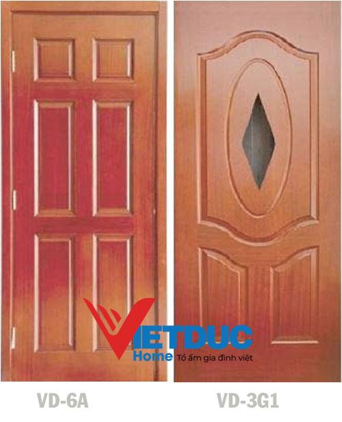 Cửa gỗ HDF Veneer Căm Xe VD-62 và Xoan Đào VD-3G1